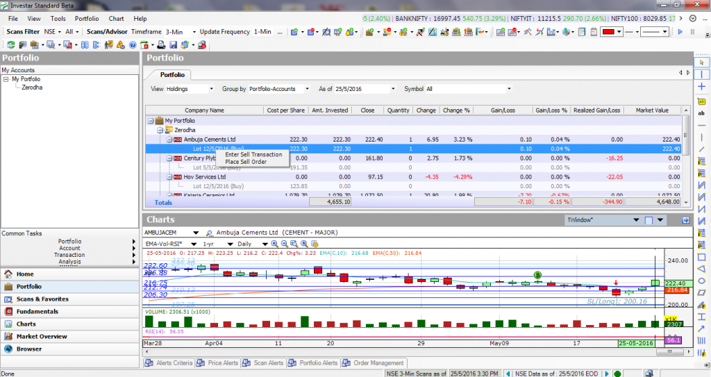 Right-click on an existing position in Portfolio Manager.