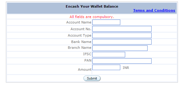 Encash Your Wallet Balance