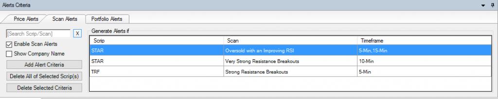 added in scan alert criteria.