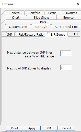parameter for SR zones